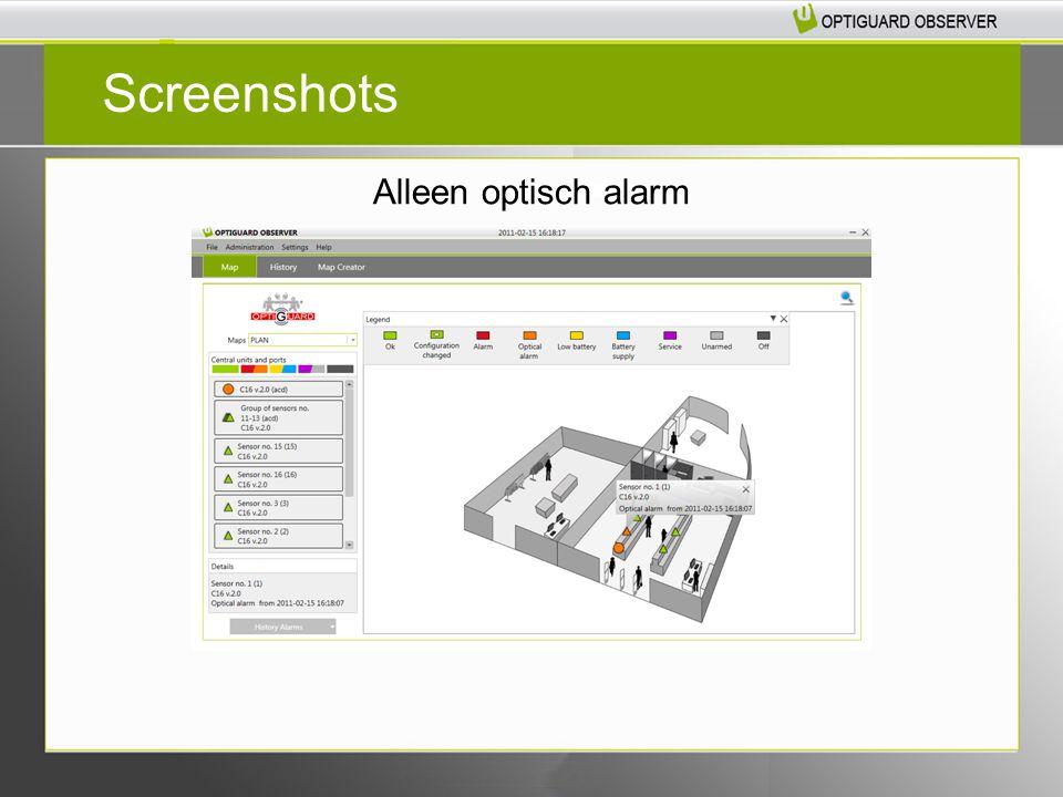 Systeem is actief maar niet alle sensoren zijn beveiligd Screenshots