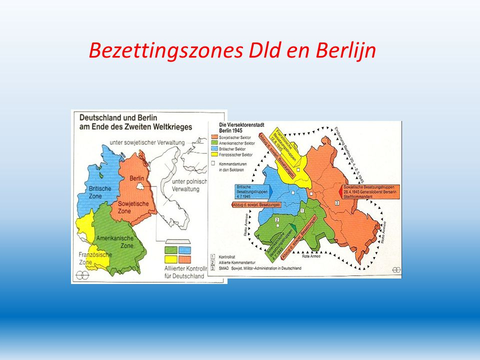 Kwestie Duitsland Na 1945 verdeeld in vier bezettingszones.