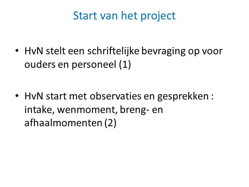 Start van het project HvN stelt een schriftelijke bevraging op voor ouders en personeel (1) HvN start met observaties en gesprekken : intake, wenmoment, breng- en afhaalmomenten (2)