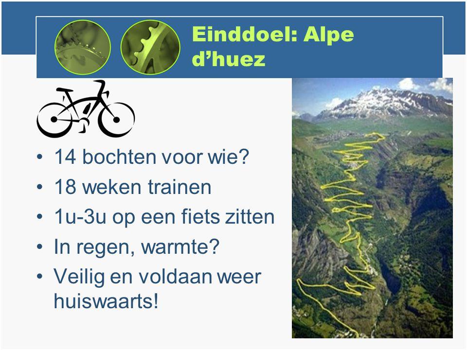 Einddoel: Alpe d'huez 14 bochten voor wie.