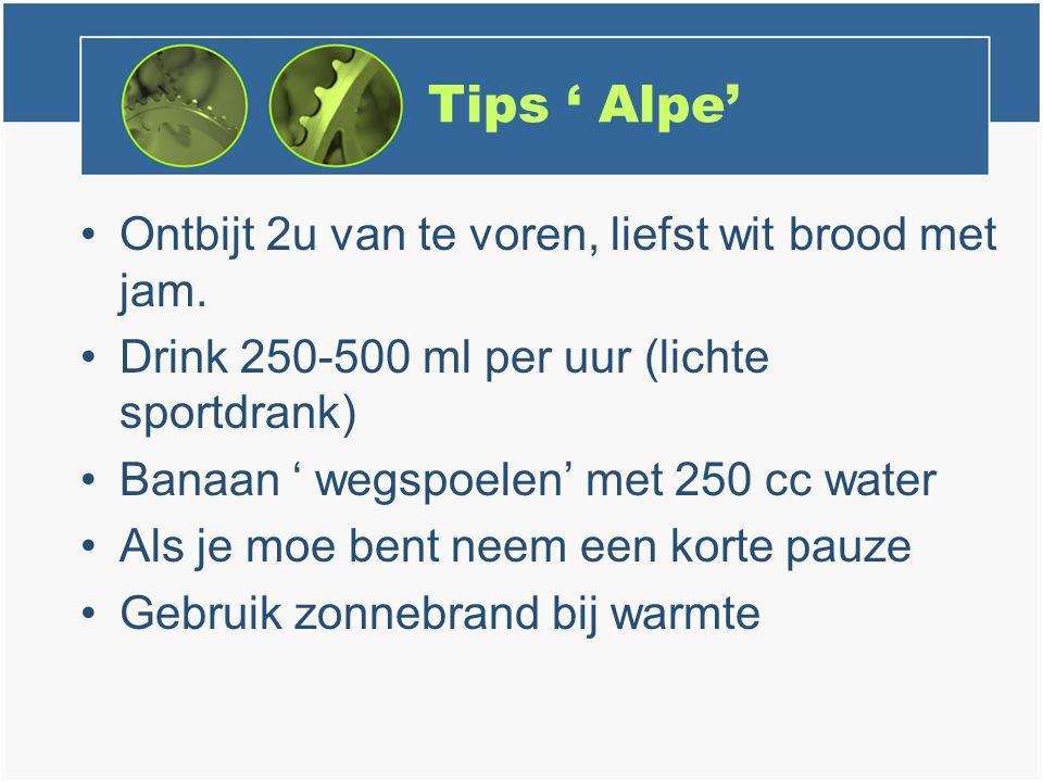 Tips ' Alpe' Ontbijt 2u van te voren, liefst wit brood met jam.