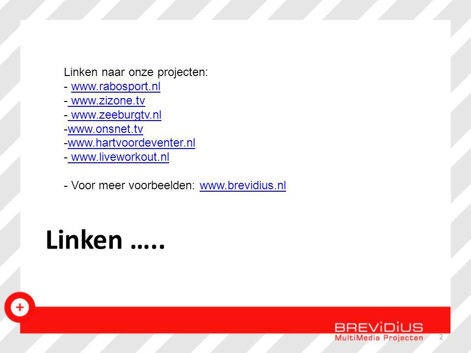 Linken ….. Linken naar onze projecten: - www.rabosport.nlwww.rabosport.nl - www.zizone.tv www.zizone.tv - www.zeeburgtv.nl www.zeeburgtv.nl -www.onsne