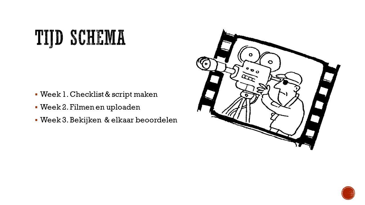  Week 1. Checklist & script maken  Week 2. Filmen en uploaden  Week 3. Bekijken & elkaar beoordelen