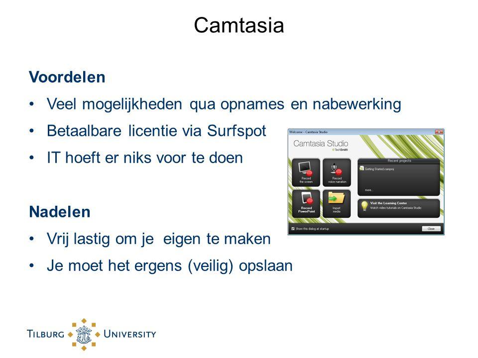 Camtasia Voordelen Veel mogelijkheden qua opnames en nabewerking Betaalbare licentie via Surfspot IT hoeft er niks voor te doen Nadelen Vrij lastig om je eigen te maken Je moet het ergens (veilig) opslaan
