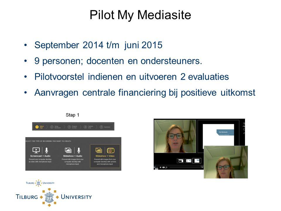 Pilot My Mediasite September 2014 t/m juni 2015 9 personen; docenten en ondersteuners.