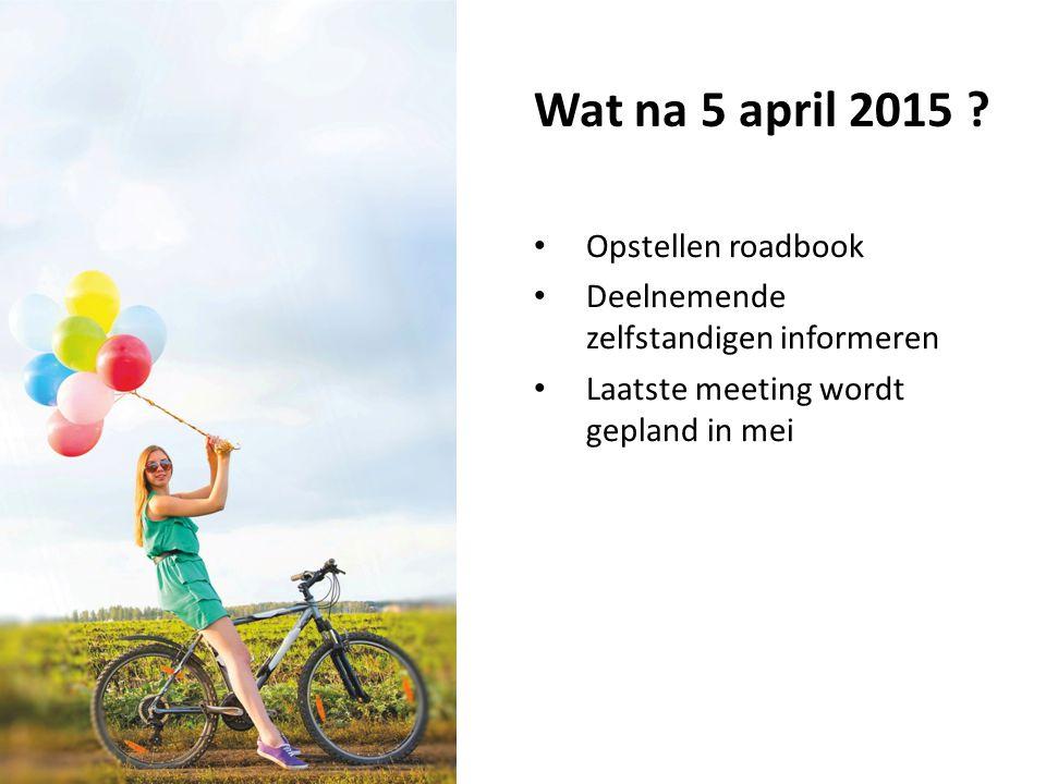 Wat na 5 april 2015 ? Opstellen roadbook Deelnemende zelfstandigen informeren Laatste meeting wordt gepland in mei