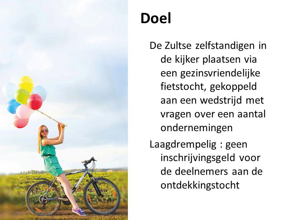 Doel De Zultse zelfstandigen in de kijker plaatsen via een gezinsvriendelijke fietstocht, gekoppeld aan een wedstrijd met vragen over een aantal onder