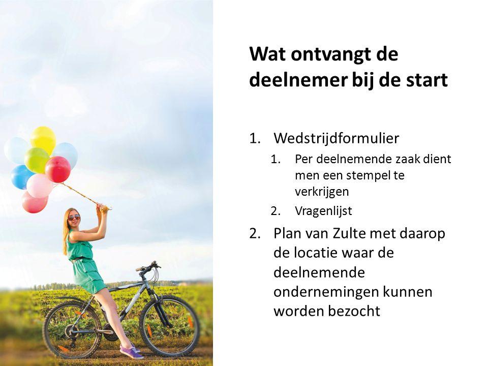 Wat ontvangt de deelnemer bij de start 1.Wedstrijdformulier 1.Per deelnemende zaak dient men een stempel te verkrijgen 2.Vragenlijst 2.Plan van Zulte