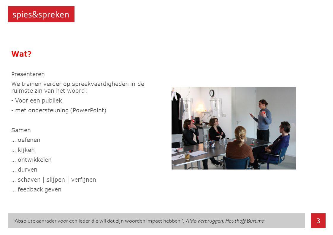Wat? Presenteren We trainen verder op spreekvaardigheden in de ruimste zin van het woord: Voor een publiek met ondersteuning (PowerPoint) Samen … oefe