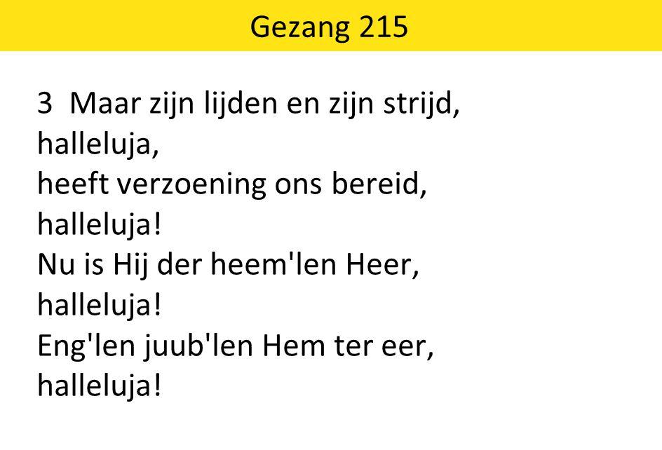 Gezang 215 3 Maar zijn lijden en zijn strijd, halleluja, heeft verzoening ons bereid, halleluja! Nu is Hij der heem'len Heer, halleluja! Eng'len juub'