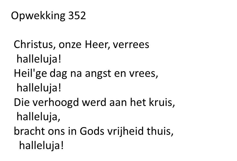 Opwekking 352 Christus, onze Heer, verrees halleluja! Heil'ge dag na angst en vrees, halleluja! Die verhoogd werd aan het kruis, halleluja, bracht ons