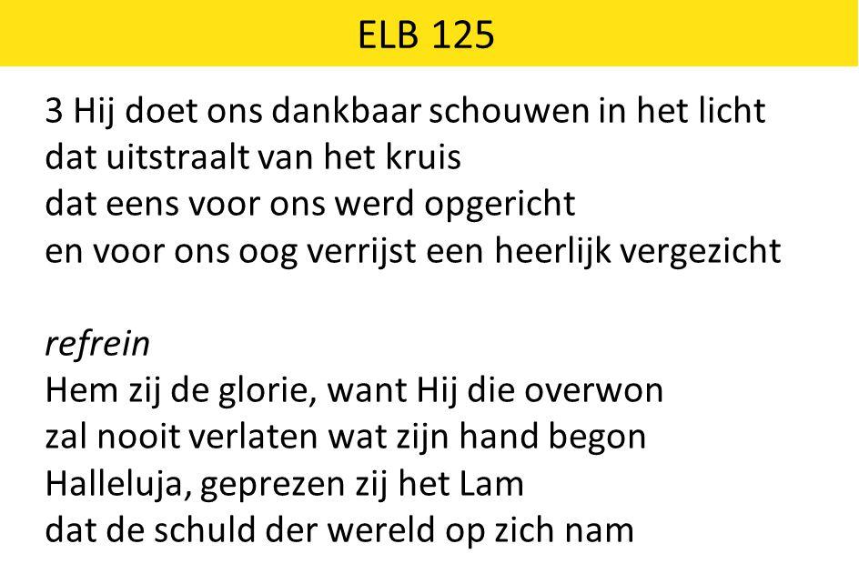 ELB 125 3 Hij doet ons dankbaar schouwen in het licht dat uitstraalt van het kruis dat eens voor ons werd opgericht en voor ons oog verrijst een heerl