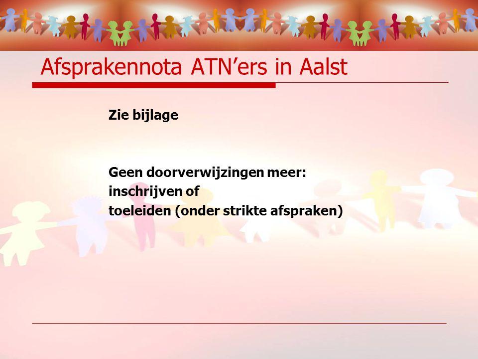 Afsprakennota ATN'ers in Aalst Zie bijlage Geen doorverwijzingen meer: inschrijven of toeleiden (onder strikte afspraken)