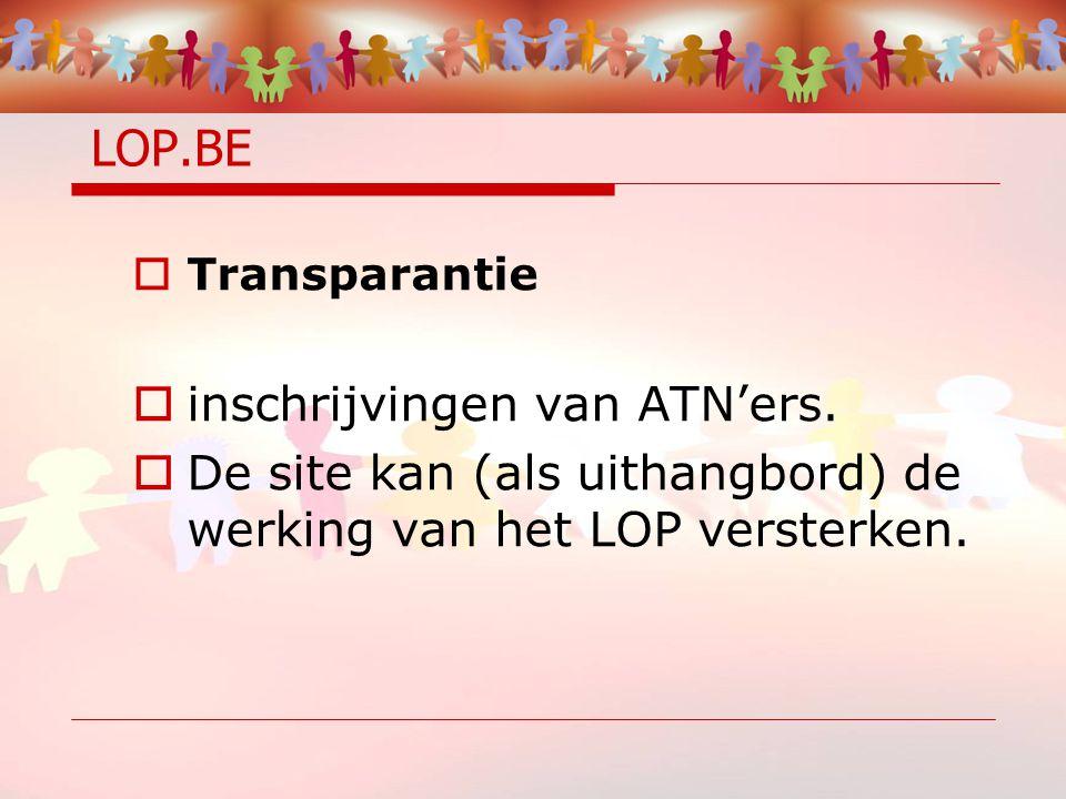 LOP.BE  Transparantie  inschrijvingen van ATN'ers.