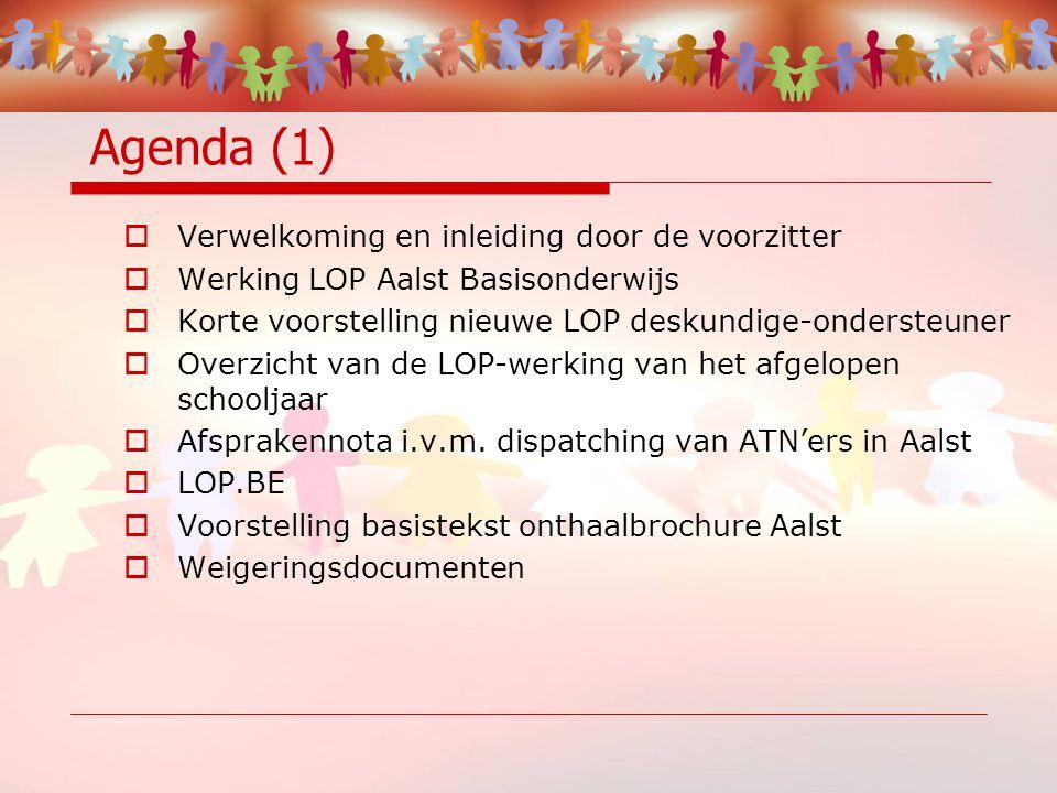 Agenda (1)  Verwelkoming en inleiding door de voorzitter  Werking LOP Aalst Basisonderwijs  Korte voorstelling nieuwe LOP deskundige-ondersteuner  Overzicht van de LOP-werking van het afgelopen schooljaar  Afsprakennota i.v.m.