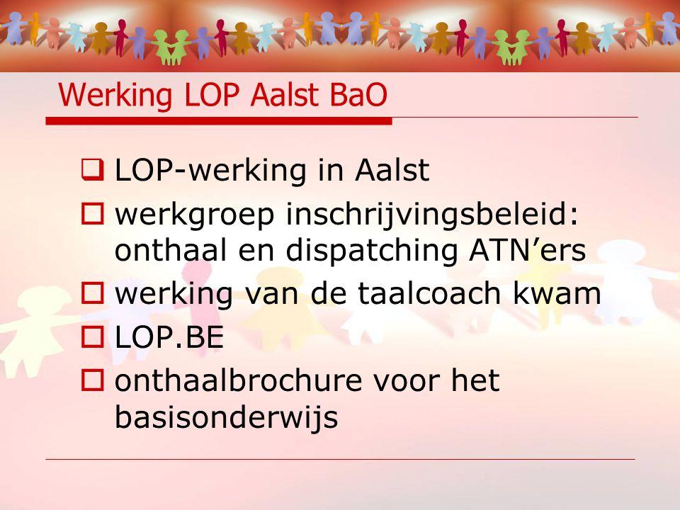 Werking LOP Aalst BaO  LOP-werking in Aalst  werkgroep inschrijvingsbeleid: onthaal en dispatching ATN'ers  werking van de taalcoach kwam  LOP.BE  onthaalbrochure voor het basisonderwijs