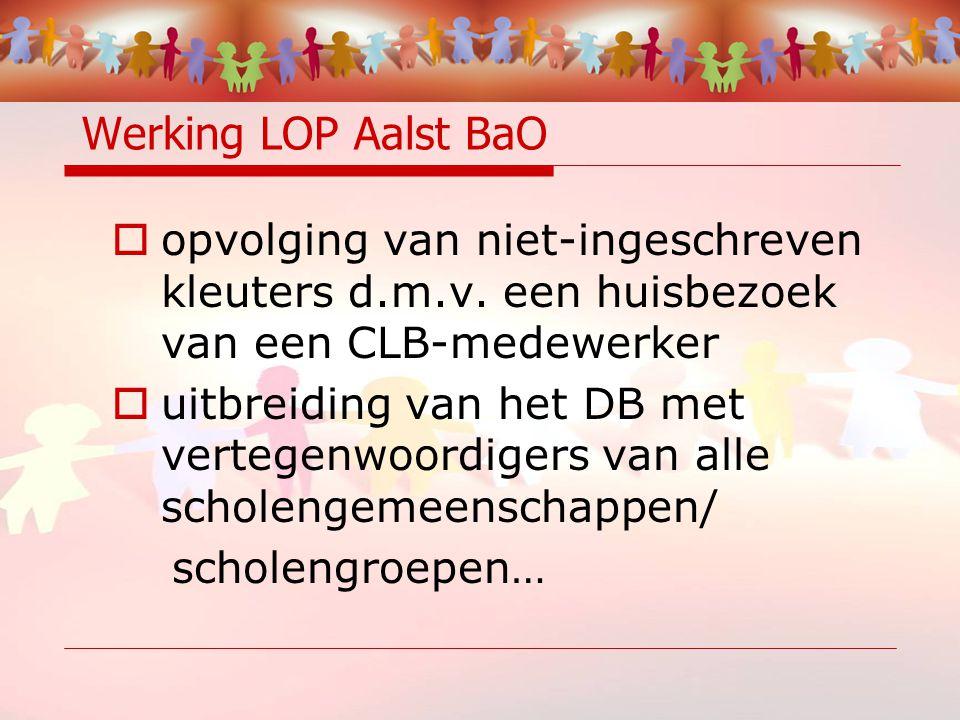 Werking LOP Aalst BaO  - het LOP zoekt mee naar ondersteunende maatregelen voor de zeer veranderlijke situatie van de Aalsterse schoolbevolking.