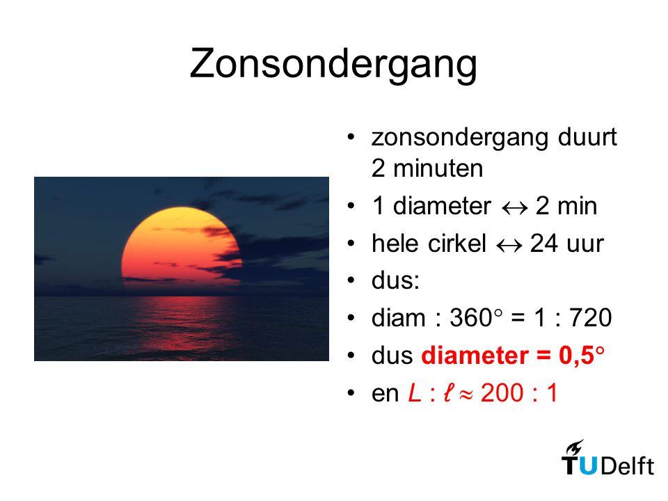 Zonsondergang zonsondergang duurt 2 minuten 1 diameter  2 min hele cirkel  24 uur dus: diam : 360  = 1 : 720 dus diameter = 0,5  en L : ℓ  200 :