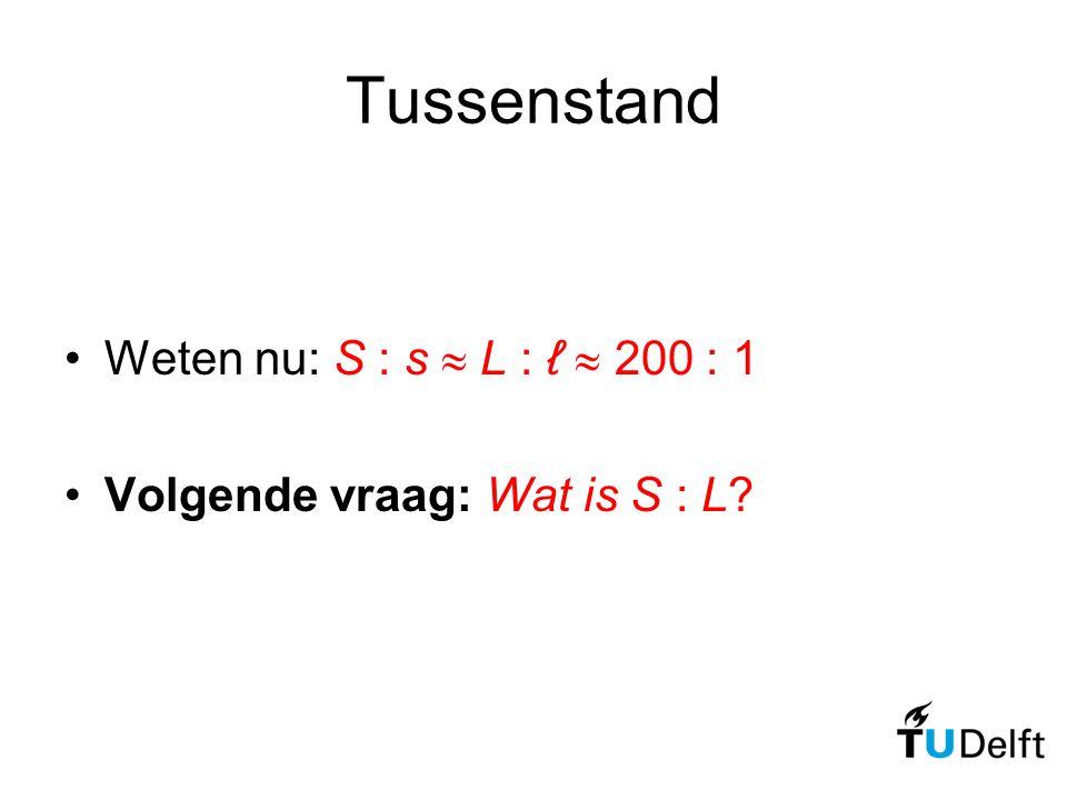 Tussenstand Weten nu: S : s  L : ℓ  200 : 1 Volgende vraag: Wat is S : L?