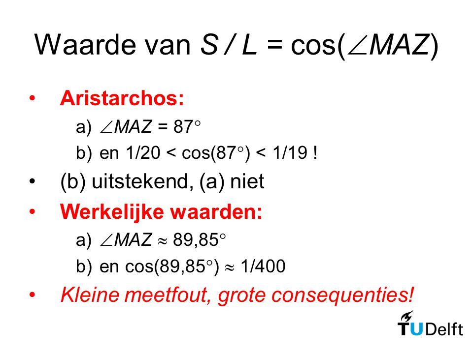 Waarde van S / L = cos(  MAZ) Aristarchos: a)  MAZ = 87  b)en 1/20 < cos(87  ) < 1/19 ! (b) uitstekend, (a) niet Werkelijke waarden: a)  MAZ  89