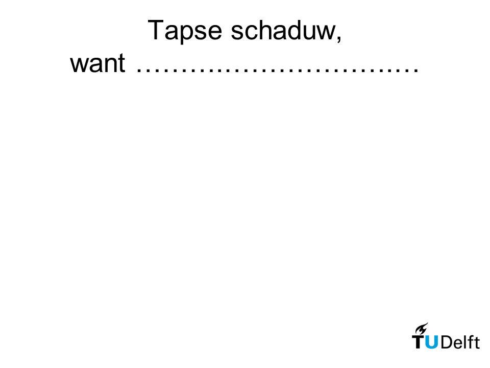 Tapse schaduw, want ……….……………….…