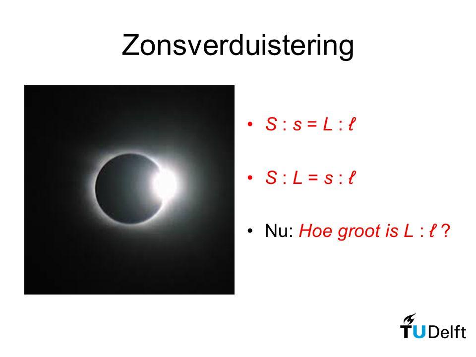 Zonsverduistering S : s = L : ℓ S : L = s : ℓ Nu: Hoe groot is L : ℓ ?