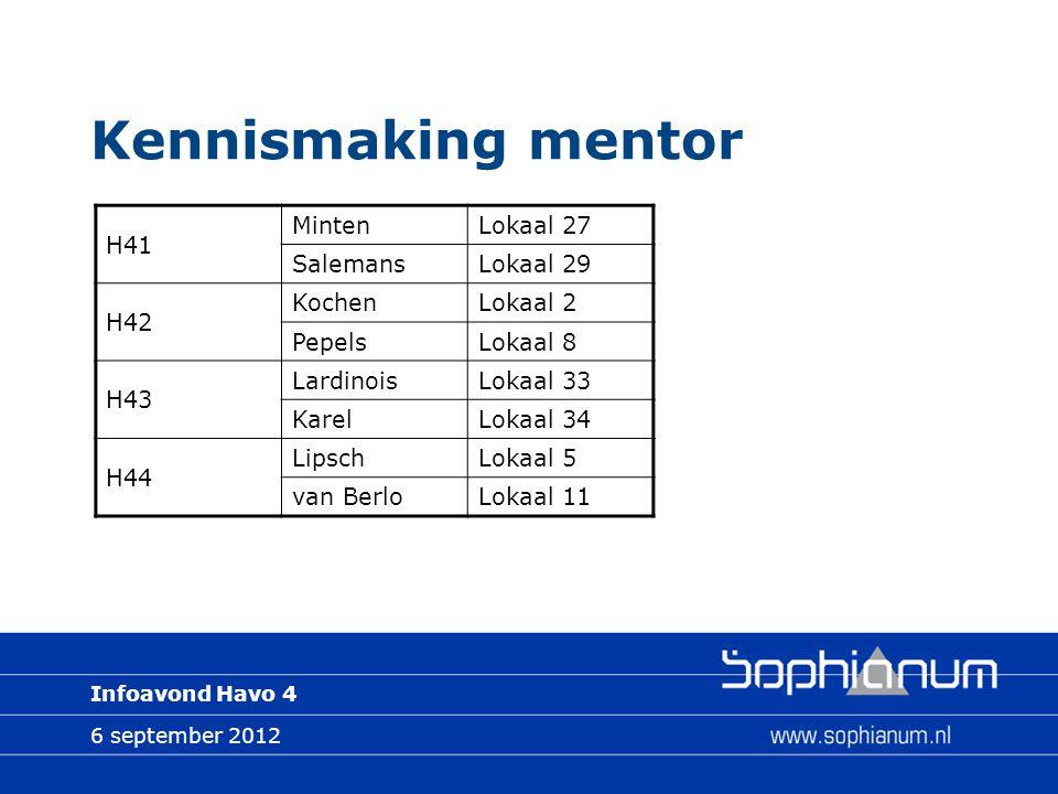 6 september 2012 Infoavond Havo 4 Kennismaking mentor H41 MintenLokaal 27 SalemansLokaal 29 H42 KochenLokaal 2 PepelsLokaal 8 H43 LardinoisLokaal 33 KarelLokaal 34 H44 LipschLokaal 5 van BerloLokaal 11