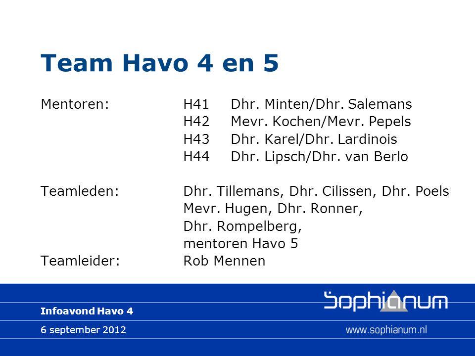 6 september 2012 Infoavond Havo 4 Team Havo 4 en 5 Mentoren:H41Dhr. Minten/Dhr. Salemans H42Mevr. Kochen/Mevr. Pepels H43Dhr. Karel/Dhr. Lardinois H44