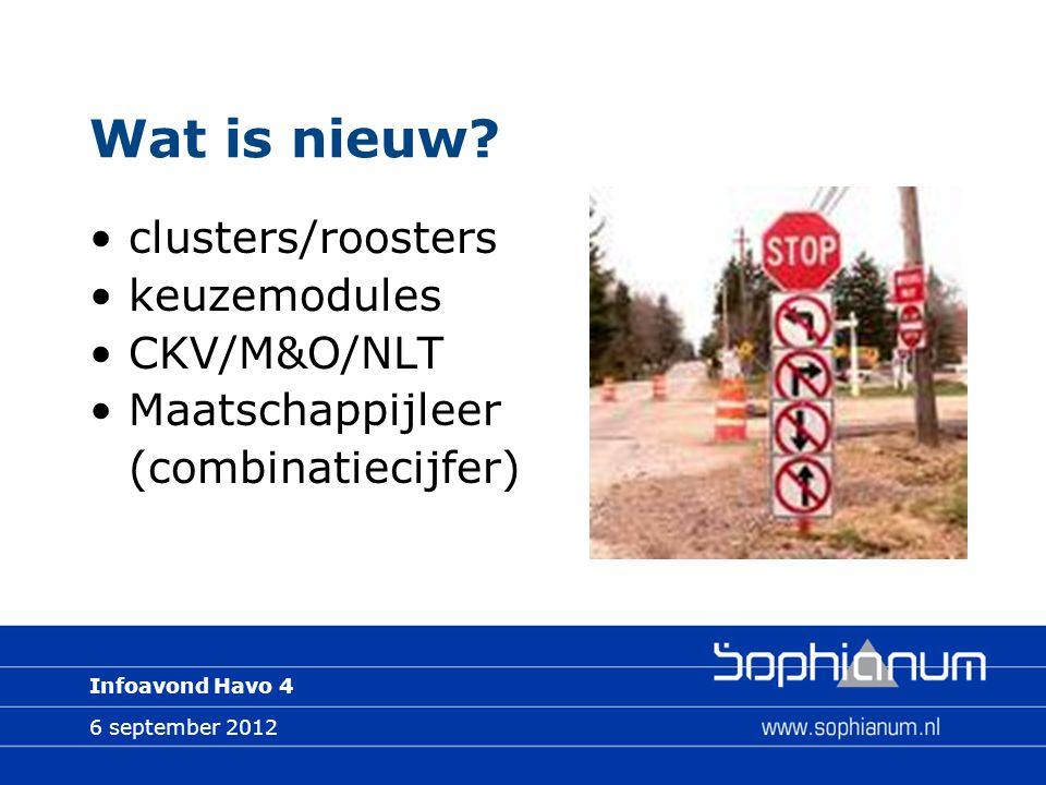 6 september 2012 Infoavond Havo 4 Wat is nieuw? clusters/roosters keuzemodules CKV/M&O/NLT Maatschappijleer (combinatiecijfer)