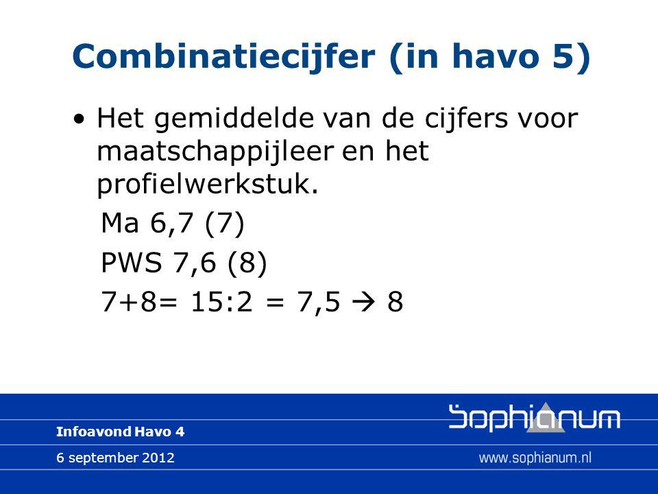 6 september 2012 Infoavond Havo 4 Combinatiecijfer (in havo 5) Het gemiddelde van de cijfers voor maatschappijleer en het profielwerkstuk. Ma 6,7 (7)