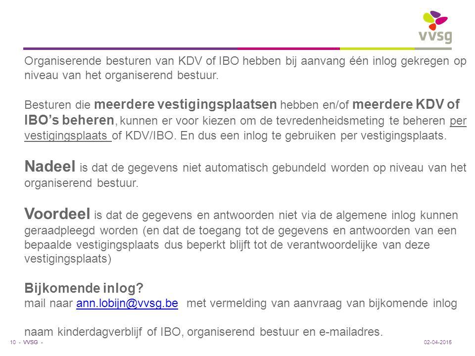 VVSG - 10 -02-04-2015 Organiserende besturen van KDV of IBO hebben bij aanvang één inlog gekregen op niveau van het organiserend bestuur. Besturen die