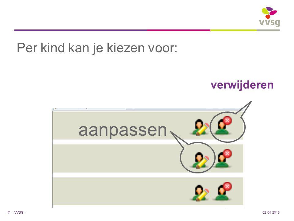 VVSG - verwijderen aanpassen Per kind kan je kiezen voor: 02-04-201517 -