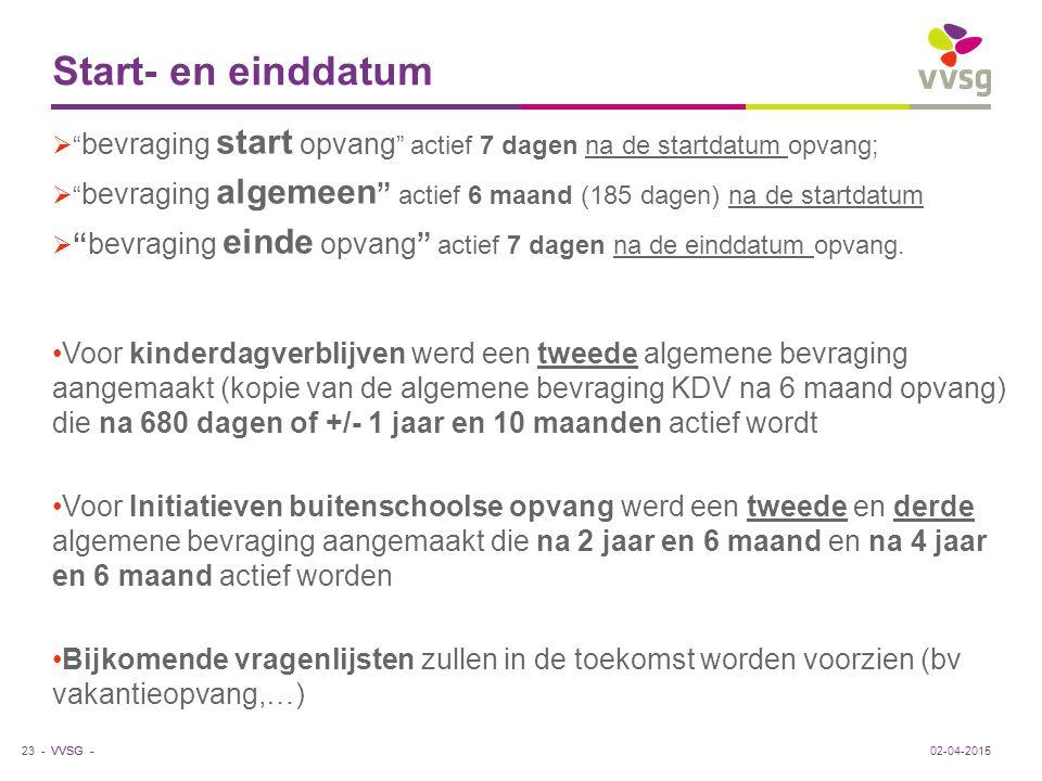 "VVSG - Start- en einddatum  "" bevraging start opvang "" actief 7 dagen na de startdatum opvang;  "" bevraging algemeen "" actief 6 maand (185 dagen) na"