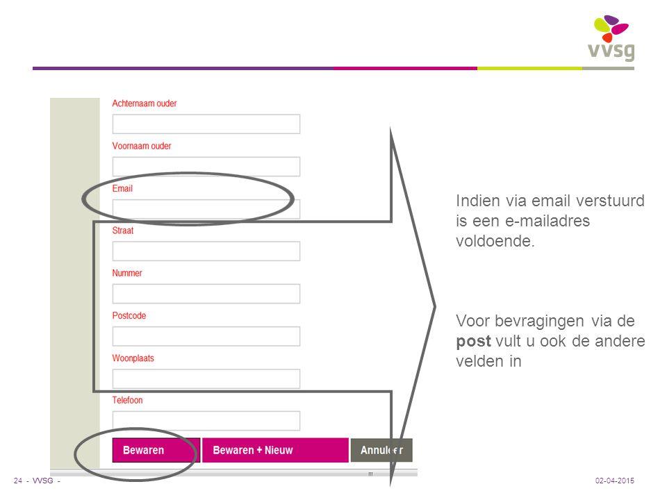 VVSG - Indien via email verstuurd is een e-mailadres voldoende. Voor bevragingen via de post vult u ook de andere velden in 02-04-201524 -