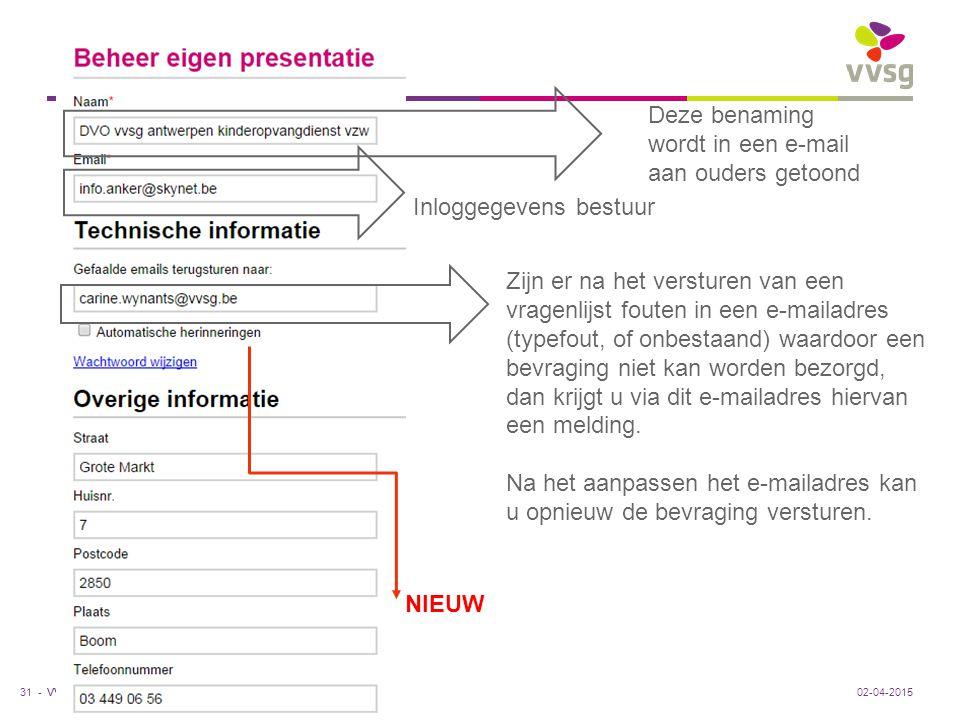 VVSG - Deze benaming wordt in een e-mail aan ouders getoond Inloggegevens bestuur Zijn er na het versturen van een vragenlijst fouten in een e-mailadr