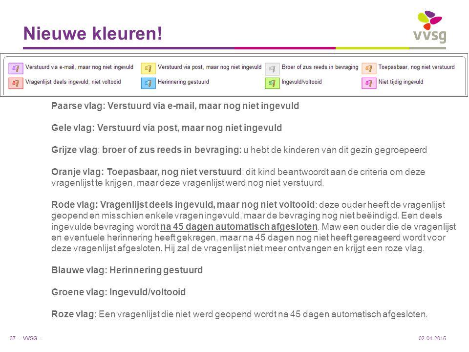 VVSG - Nieuwe kleuren! 37 -02-04-2015 Paarse vlag: Verstuurd via e-mail, maar nog niet ingevuld Gele vlag: Verstuurd via post, maar nog niet ingevuld