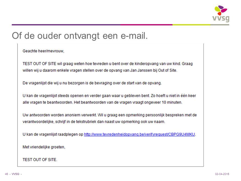 VVSG - Of de ouder ontvangt een e-mail. 45 -02-04-2015