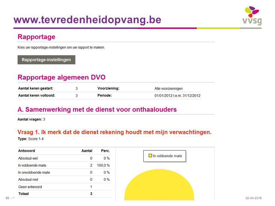 VVSG - www.tevredenheidopvang.be Rapportage 55 -02-04-2015