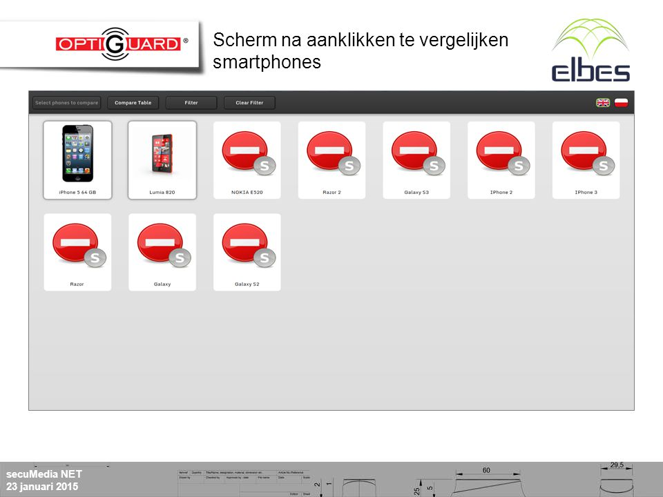 secuMedia NET 23 januari 2015 Scherm na aanklikken te vergelijken smartphones