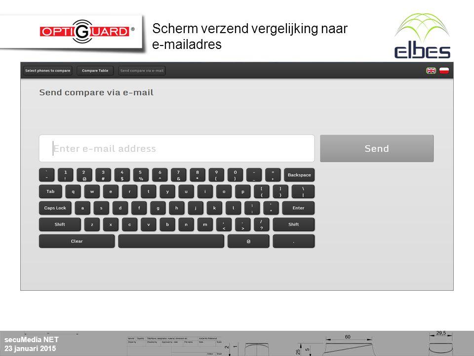 secuMedia NET 23 januari 2015 Scherm verzend vergelijking naar e-mailadres