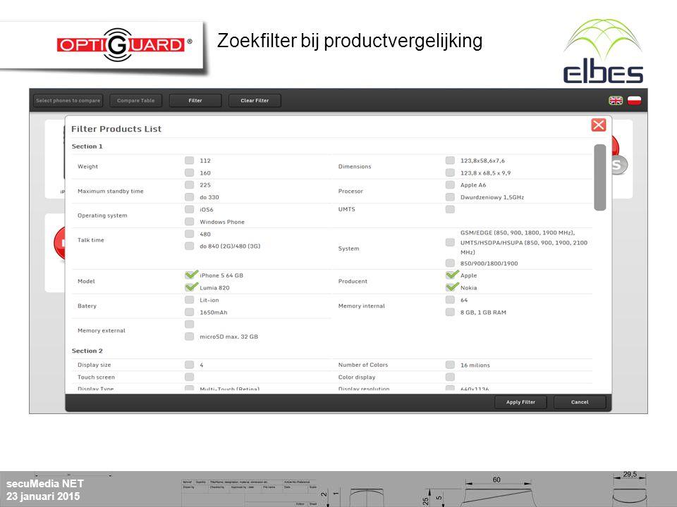secuMedia NET 23 januari 2015 Zoekfilter bij productvergelijking