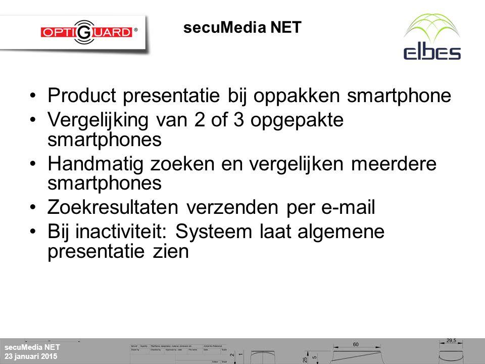 secuMedia NET 23 januari 2015 secuMediaNet Bediening via Touchscreen of muis en toetsenbord Geen bediening secuMedia NET