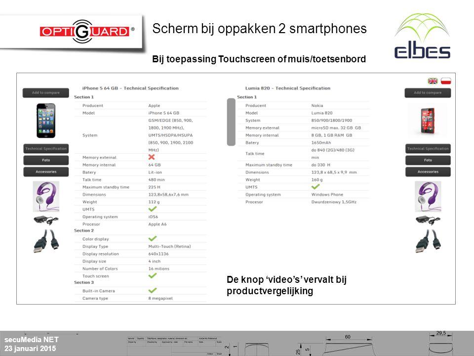 secuMedia NET 23 januari 2015 De knop 'video's' vervalt bij productvergelijking Scherm bij oppakken 2 smartphones Bij toepassing Touchscreen of muis/toetsenbord