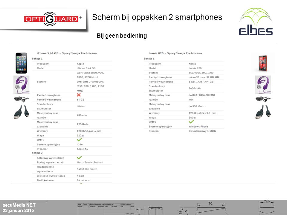 secuMedia NET 23 januari 2015 Linker en rechterkant zijn onafhankelijk van elkaar Standaard scherm bij oppakken 2 productenScherm bij bediening knop 'foto's' Scherm bij oppakken 2 smartphones