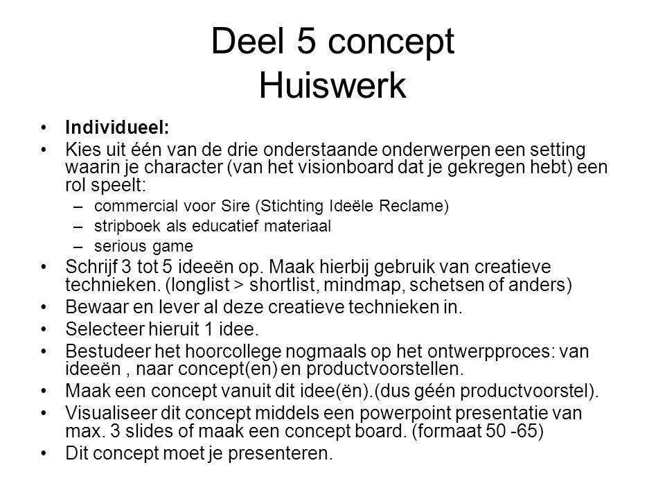 Deel 5 concept Huiswerk Individueel: Kies uit één van de drie onderstaande onderwerpen een setting waarin je character (van het visionboard dat je gek