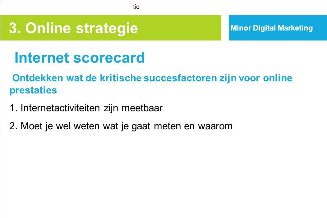 3. Online strategie Internet scorecard tio Ontdekken wat de kritische succesfactoren zijn voor online prestaties 1. Internetactiviteiten zijn meetbaar