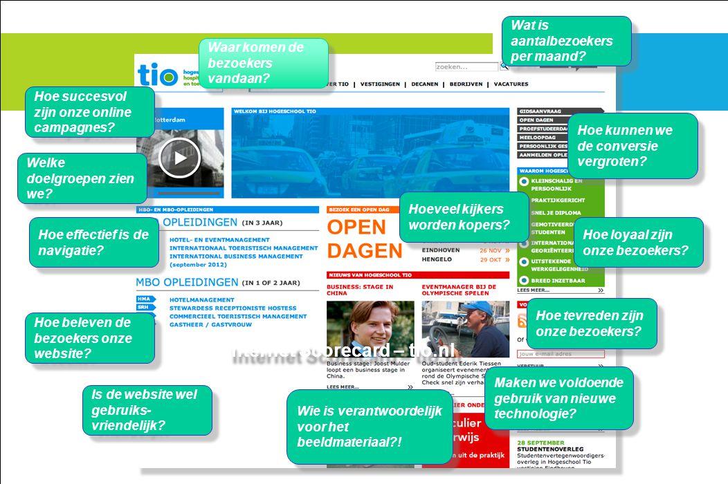 Internet Scorecard – tio.nl Waar komen de bezoekers vandaan? Hoe effectief is de navigatie? Wat is aantalbezoekers per maand? Hoe loyaal zijn onze bez