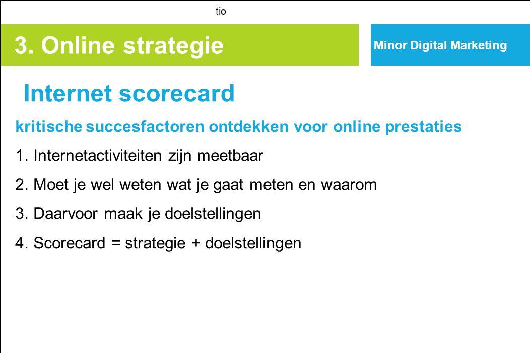 3. Online strategie Internet scorecard tio kritische succesfactoren ontdekken voor online prestaties 1. Internetactiviteiten zijn meetbaar 2. Moet je