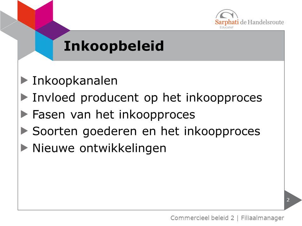 Inkoopkanalen Invloed producent op het inkoopproces Fasen van het inkoopproces Soorten goederen en het inkoopproces Nieuwe ontwikkelingen 2 Commerciee