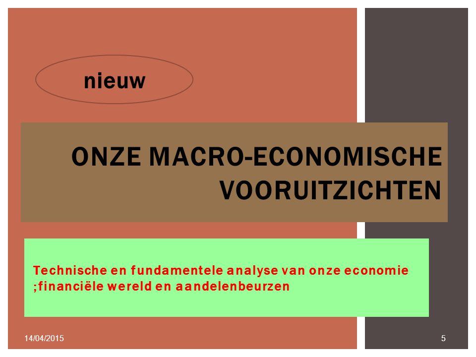 Technische en fundamentele analyse van onze economie ;financiële wereld en aandelenbeurzen 14/04/2015 5 ONZE MACRO-ECONOMISCHE VOORUITZICHTEN nieuw